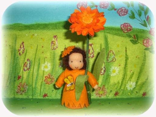 Blumenkind nach Waldorf Art Ringelblume