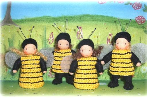 gehäkelte Bienen, Blumenkinder Sommer