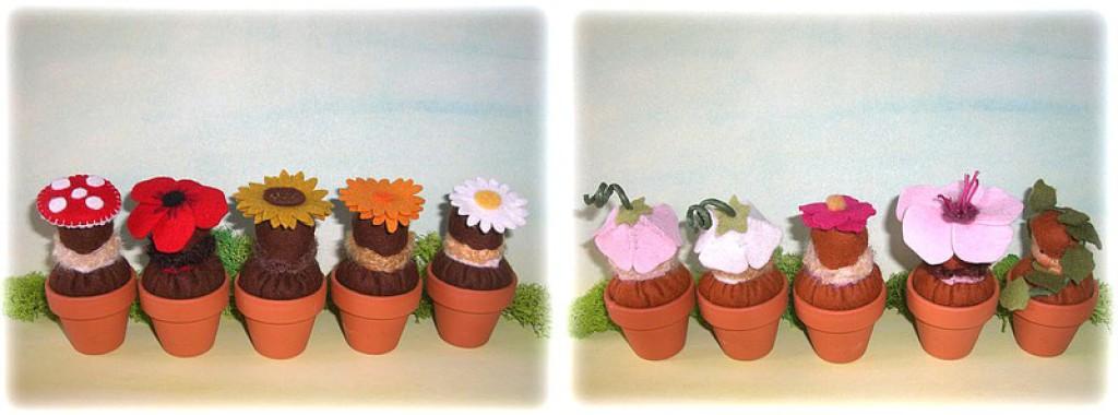 Filzblumen, Blumen aus Filz