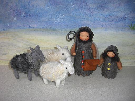 Hirten mit Schafen aus Filz